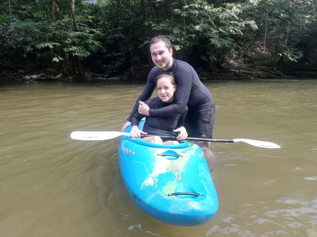 Philip Doyle and Jane try the kayak before start the rafting TRIPS