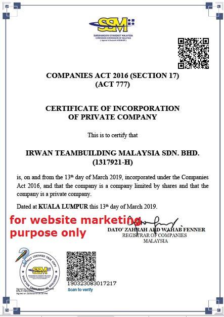 ssm register of company Irwan Teambuilding Malaysia SDN BHD