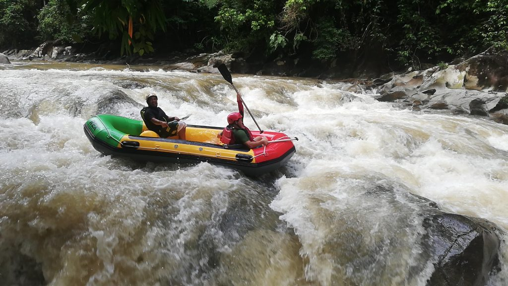 mr Ray and Son enjoy rafting in Ipoh
