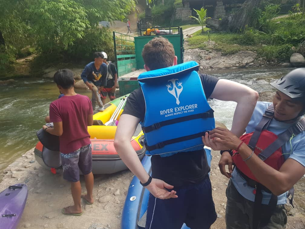 mr christopher ardern wear a PFD or personal floating device and ready to do a kayaking tours