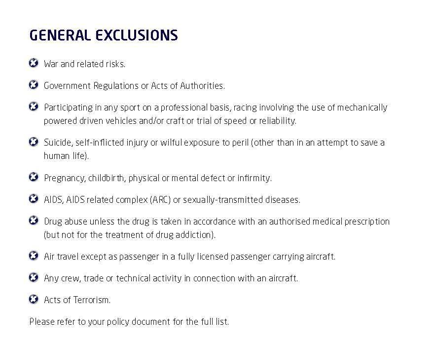 MSIG PA Sports Insurance General Exclusions