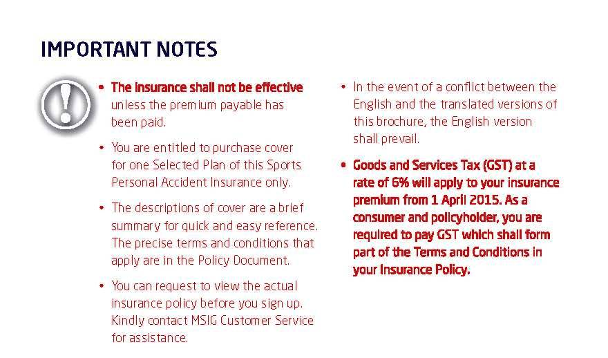 MSIG PA Sports Insurance Importance Notes
