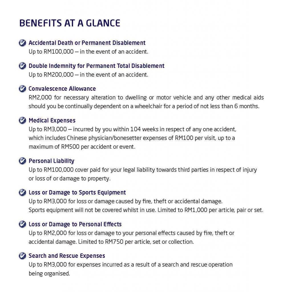 MSIG PA Sports Insurance benefits at a glance