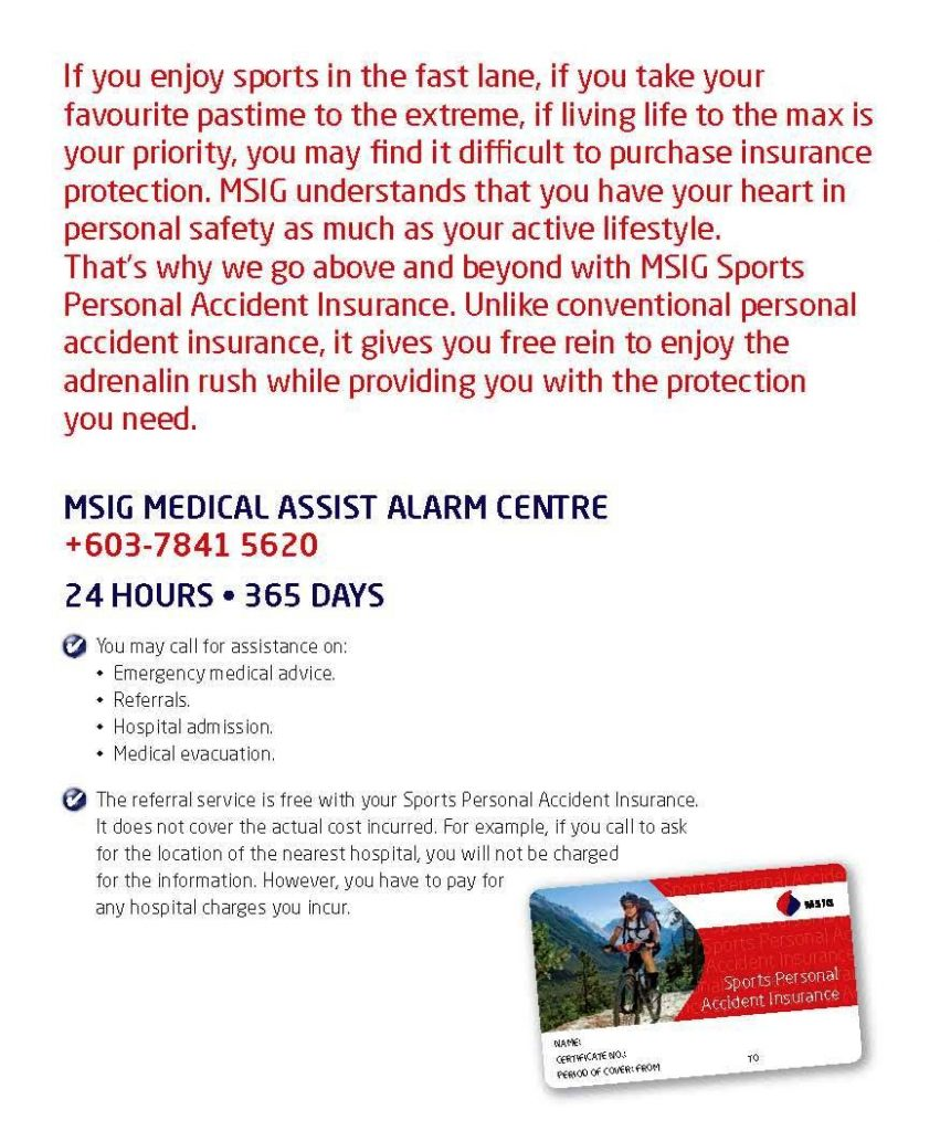 MSIG Sports Insurance Medical Assist Alarm Centre